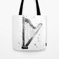 Harp, black and white Tote Bag