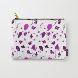 Purple Floral Pattern Pressed Flowers and Leaves Carry-All Pouch