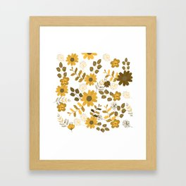 Big Yellow and Brown Flowers Framed Art Print