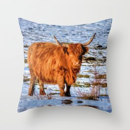 Hamish the Scottish Highland Bull in Winter Snow Throw Pillow