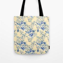 Chinoiserie Flowers Blue on Lemon Honey Creme Tote Bag