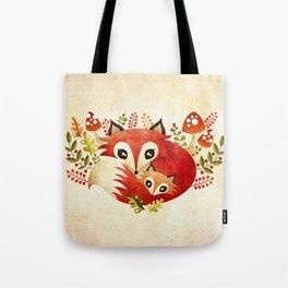 Fox Mom & Pup Tote Bag