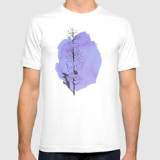 delphinium White MEDIUM Mens Fitted Tee