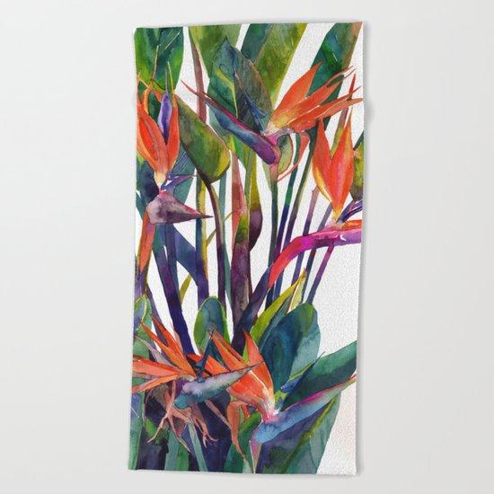 The bird of paradise Beach Towel