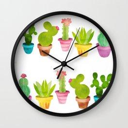 Cactus Plants In Pretty Pots Wall Clock