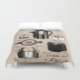 patent China Coffee pot - Blanke - 1909 Duvet Cover