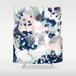 Melia - abstract minimal painting acrylic watercolor nursery mint navy pink Shower Curtain