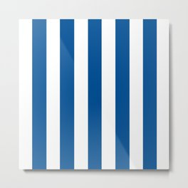 Medium electric blue - solid color - white vertical lines pattern Metal Print