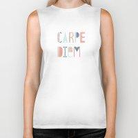 carpe diem Biker Tanks featuring Carpe Diem by Amber Barkley