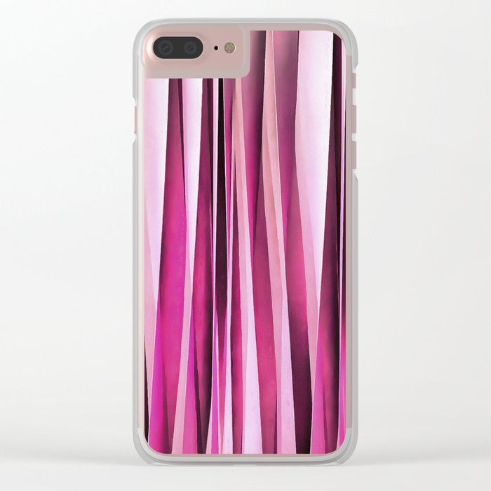 Rose Wine and Burgundy Stripy Lines Pattern Clear iPhone Case