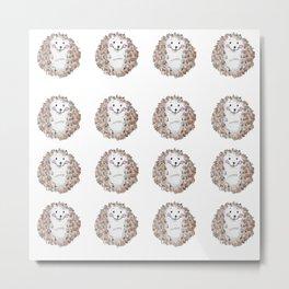 Cute watercolor hedgehog Metal Print