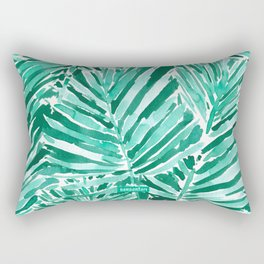 ON VACAY Green Palm Leaves Rectangular Pillow