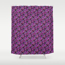 Fun Pattern: Hoops And Loops In Living Coral, Magenta And Cyan Shower Curtain