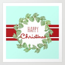 Happy Christmas striped holiday Art Print