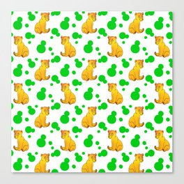 Little bears. Cute adorable funny baby bear cubs bold green retro dots white seamless pattern Canvas Print