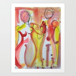 Lovers Holding Hands Art Print