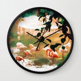 Flamingo Sighting #painting #wildlife Wall Clock