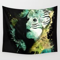women Wall Tapestries featuring Macaw Women by RIZA PEKER