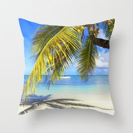 Palmtree on White Exotic Beach Throw Pillow