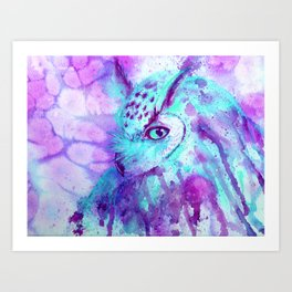 purple owl Art Print
