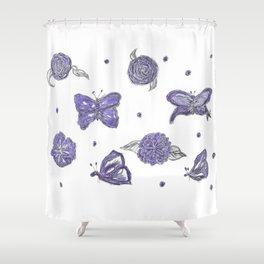 Butterfly flutterby purple Shower Curtain