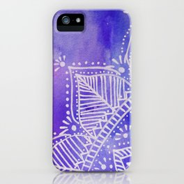 Mandala flower on watercolor background - purple and blue iPhone Case