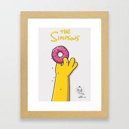 Homer's doughnut, animated tv sitcom, Matt Groening, fox, Bart, Lisa, Maggie, Marge, american family Framed Art Print