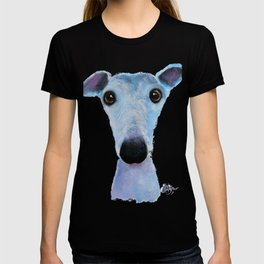 Nosey Dog Whippet Greyhound ' BLUEBELL ' by Shirley MacArthur T-shirt