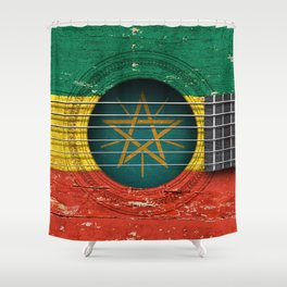 Old Vintage Acoustic Guitar with Ethiopian Flag Shower Curtain