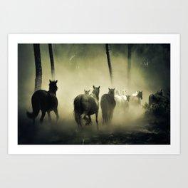 Herd of Horses Running Down a Dusty Path Art Print