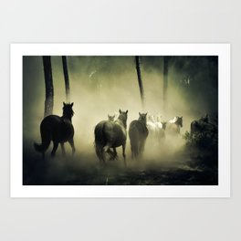 Herd of Horses Running Down a Dusty Path Art Print