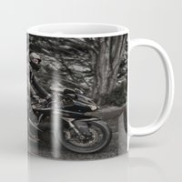 motorbike Mugs featuring Black Kawasaki Ninja Motorcycle/Motorbike by Sugar and Spice Photography