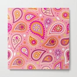 Colorful summer paisleys Metal Print