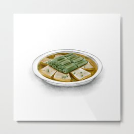 Watercolor Illustration of Chinese Cuisine - Steamed Stinky Tofu with Amaranth Stalk | 霉苋菜梗蒸臭豆腐 Metal Print