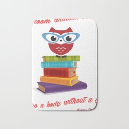 owl on the books with glass  Marcus Tullius Cicero quote Bath Mat