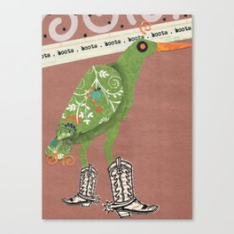 Birds Wearing Clothes: Boots Canvas Print