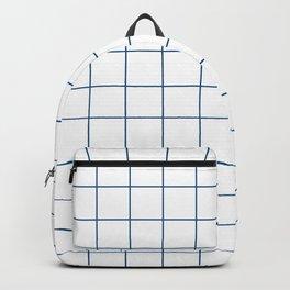 Grid Pattern White Classic Blue 0F4C81 Stripe Line Minimal Stripes Lines Spring Summer Backpack