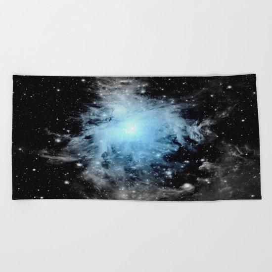 Orion nebULa Black White Blue Beach Towel