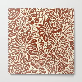 Marigold Lino Cut, Sepia Metal Print