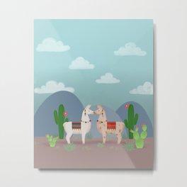 Cute Llamas Illustration Metal Print
