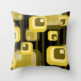 Vintage Rectangles yellow gold black  Throw Pillow