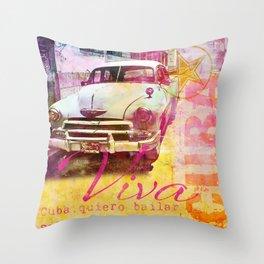 Viva Cuba retro car mixed media art Throw Pillow