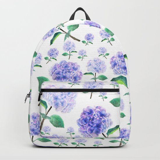 purple blue hydrangea pattern Backpack