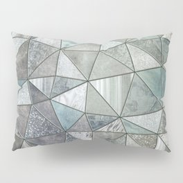 Teal And Grey Triangles Stained Glass Style Pillow Sham