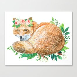 cute fox with roses Canvas Print