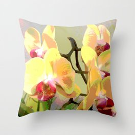 Yellow Orchids, afternoon sun Throw Pillow