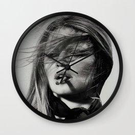 Brigitte Bardot Smoking a Cigarette, Black and White Photograph Wall Clock