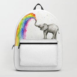 Baby Elephant Spraying Rainbow Backpack