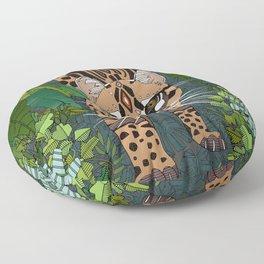 ocelot jungle nightshade Floor Pillow