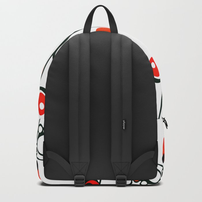 Abstract black and white pattern with red polka dots . Backpack